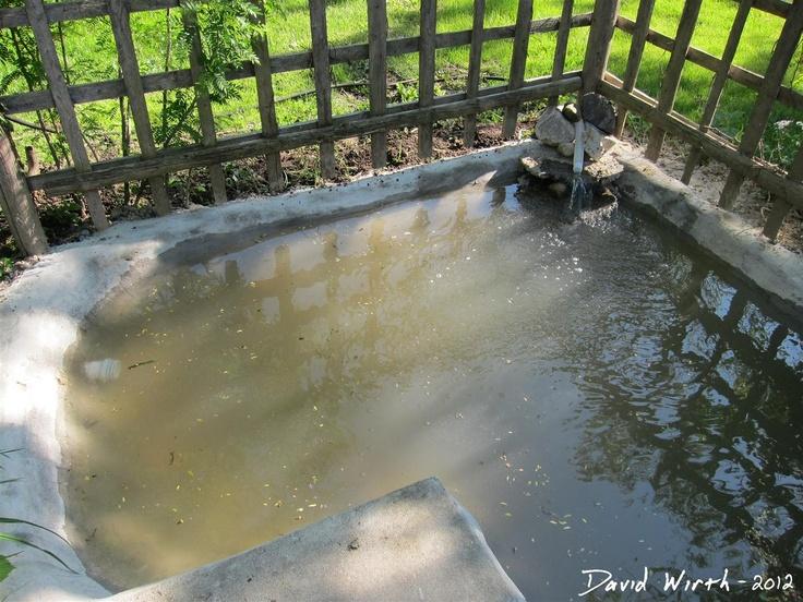 Diy Concrete Pond With Pool Filter Backyard Diy Pond