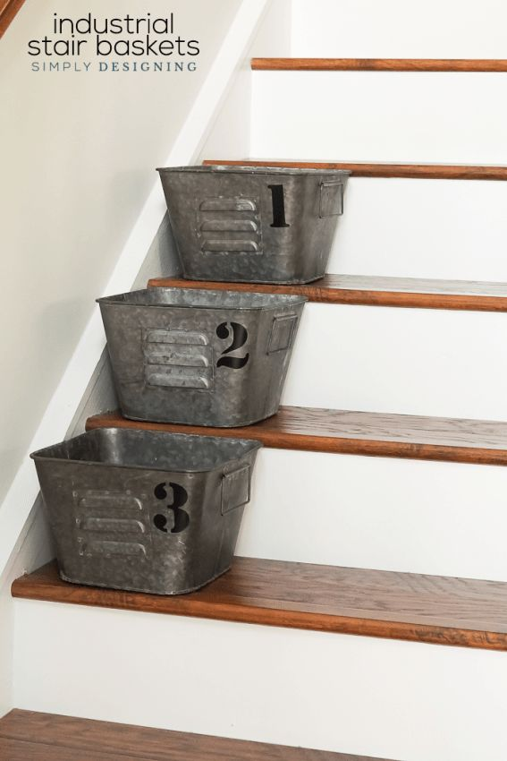Charming Industrial Stair Baskets