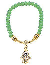Pulsera de latón dorado ojo mano de Fátima charm-crystal Zirconia cúbico ajustable anillos verde/azul
