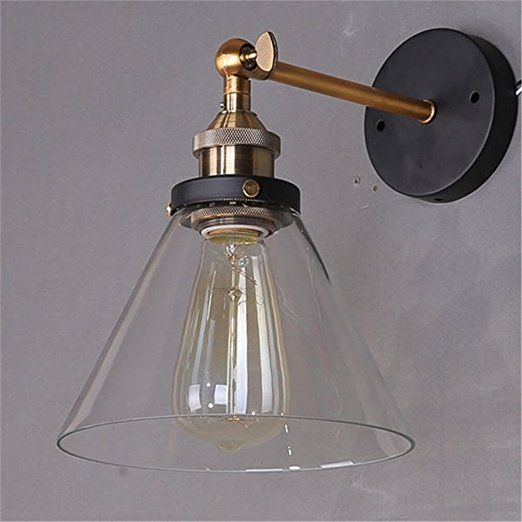 Lightess Lampada Vintage Industriale Edison Lampada da Parete Attacco E27, Paralume in Vetro, Lampada per Soffitta Caffetteria Soggiorno Camera da Letto Cucina Sala da Pranzo