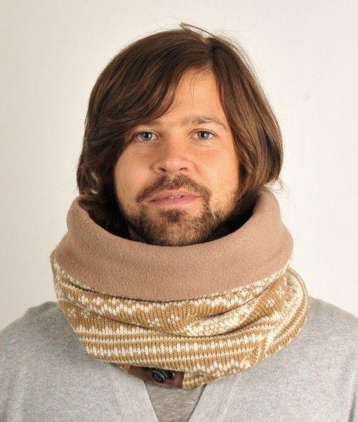 Flot tube tørklæde i beige/hvidt med skandinavisk strik mønster