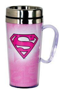 DC Comics Superman Pink Logo Insulated Travel Mug, Pink This is the perfect gift for busy woman, who are always on the go. It is insulated, and fits in Most Vehicle Cup holders. Hand wash only. 12-Ounce, 12-Ounce Eco Travel Mug, Black, Blue, Cafe Mocha Vodka Insulated Travel Mug, Ceramic Mug With Lid,