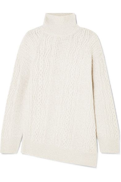 d3e56ee9faaa Vince - Asymmetric Cable-knit Wool-blend Turtleneck Sweater - Cream ...