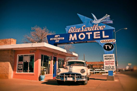 Blue+Swallow+Motel+Vintage+Neon+Sign++Route+by+RetroRoadsidePhoto,+$15.00