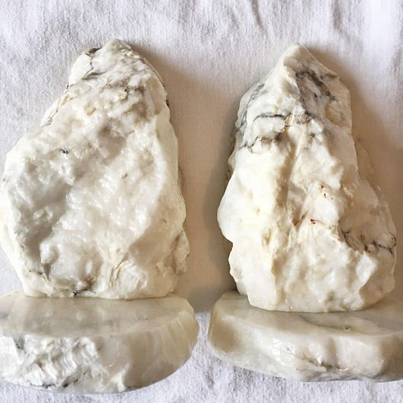 Vintage Raw Marble Bookends // Alabaster Mid Century Book Ends