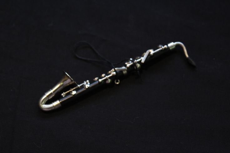 Realistic Bass Clarinet Christmas Ornament. 5 inches long.