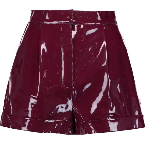 Valentino Pleated faux patent-leather shorts (€855) ❤ liked on Polyvore featuring shorts, plum, high-rise shorts, high rise shorts, highwaist shorts, slim shorts and high-waisted shorts