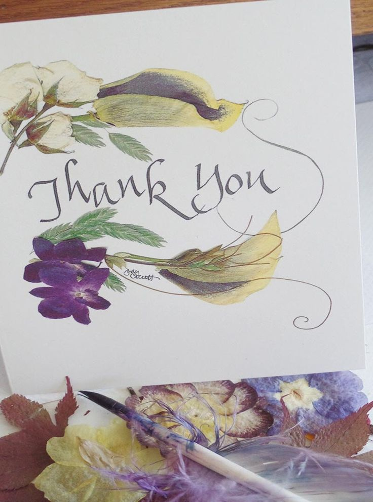 Thank You card, recyled, pressed flower art, giclee print, wedding thank you card, calligraphy, blank for your message, Etsy wholesale by quilligraphy on Etsy https://www.etsy.com/ca/listing/235978392/thank-you-card-recyled-pressed-flower
