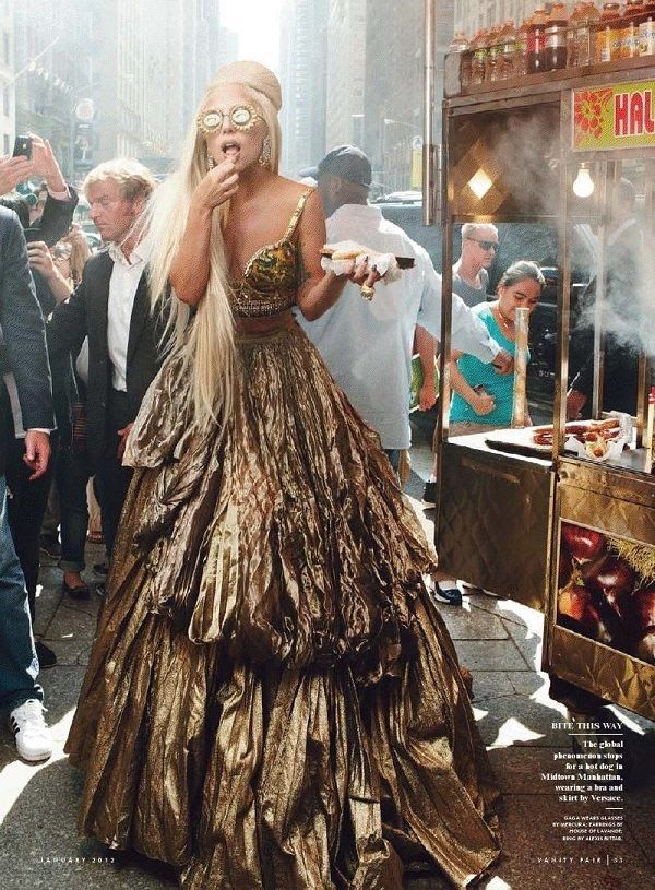 Lady Gaga in a beautiful gold gown