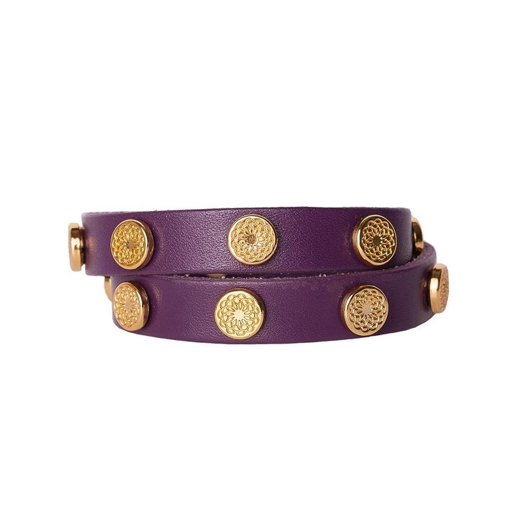 Bold eggplant leather contrasts perfectly with golden metal studs featuring the subtle pattern of the South Hill Signature Flower. It's a look that's both edgy and feminine--and a whole lot of fun!  Product Material - Genuine leather with Zinc Alloy studs