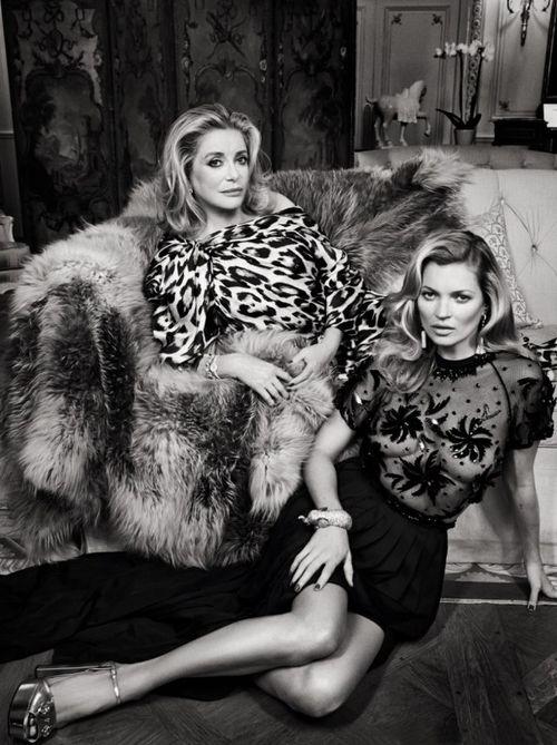 Catherine Deneuve & Kate Moss by Patrick Demarchelier for Vanity Fair February 2014