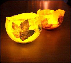 DIY: Wir basteln Lichtschalen aus Blättern, Kleister und Luftballons. DY für k…