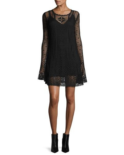 Long-Sleeve Macrame Mini Dress, Darkest Black