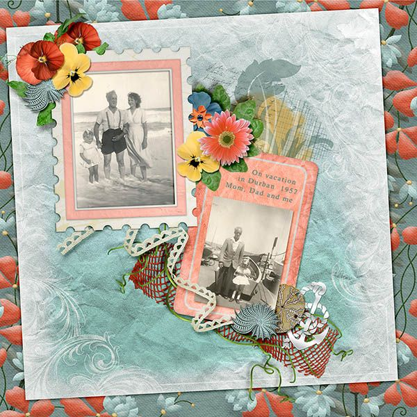 VINTAGE VACATION bundle  from Over the Fence Designs is cheerful and romantic at the same time.  .   There are beautiful papers, elements, blendables, masks, alphas & water colour styles in this bundle. There are eight packs in this bundle which can be bought separately.
