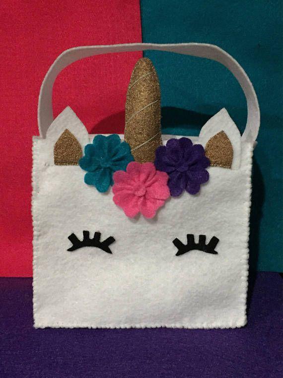Felt Unicorn Party Favor Bags / Unicorn Bag / Unicorn Party / Feltro / Unicorn Birthday Party / Unicorn Baby Shower