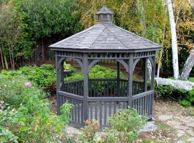 21 best buying wood garden gazebos images on pinterest for Octagonal greenhouse plans