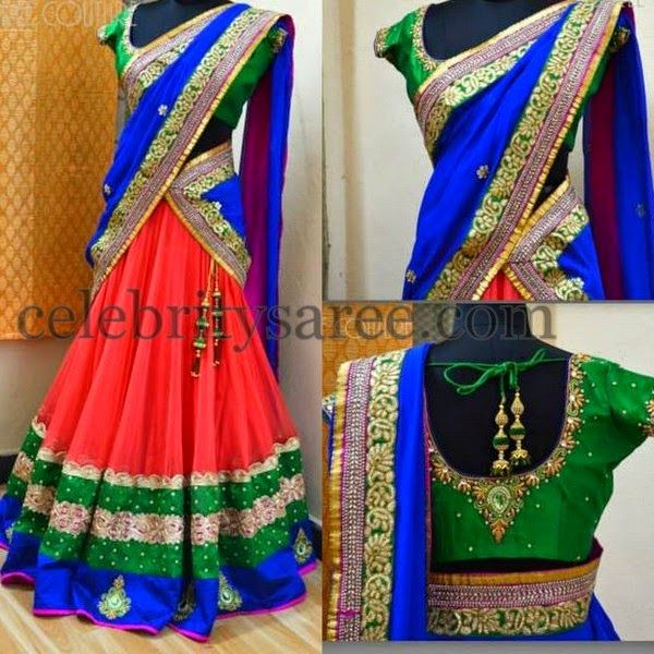 Eyecatching Work Half Sari by Shree | Saree Blouse Patterns