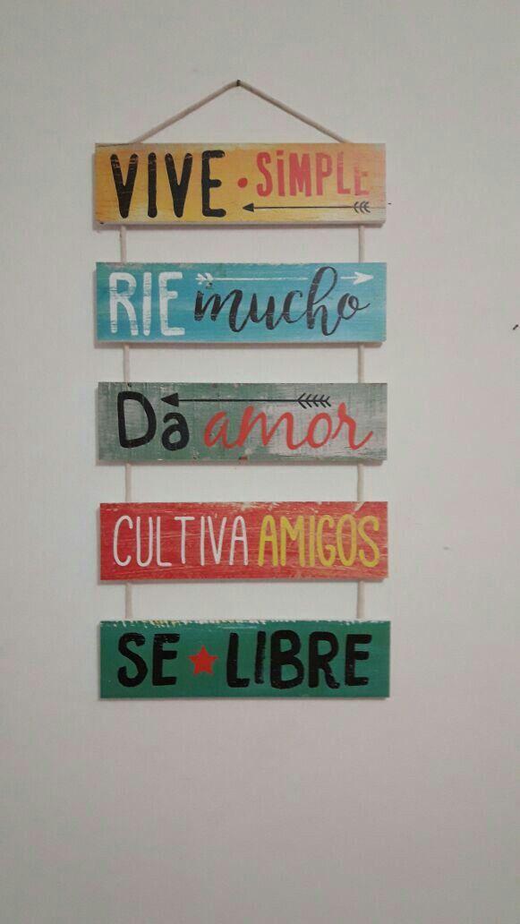 Letrero Vive Simple Rie Mucho Da Amor Cultiva Amigos Sé