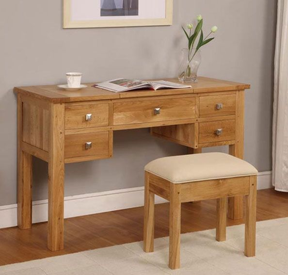 Havana oak dressing table with lift up mirror blonde