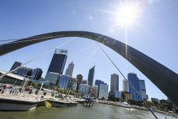 TWA-0041416 © WestPix A view of the Perth CBD from Elizabeth Quay today. Pic: Michael Wilson The West Australian