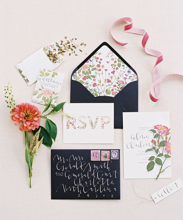Floral invitation suite, by Yes Ma'am Paper Goods || Southern Weddings