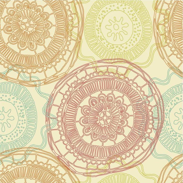 bohemian inspired circular print #wallpaper inspiration #circles #prints #graphics #textiles #interiordesign