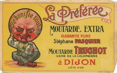 Moon man on Vintage French ad for mustard -buvard moutarde.