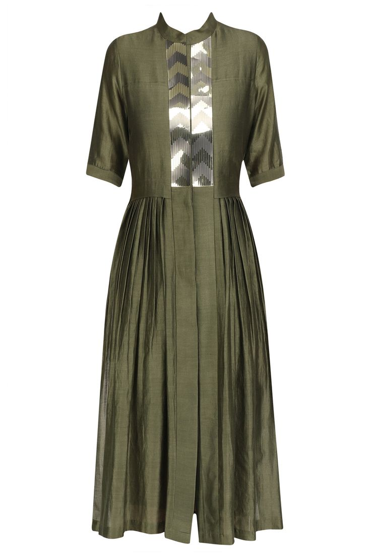 Olive green flared shirt dress available only at Pernia's Pop Up Shop.