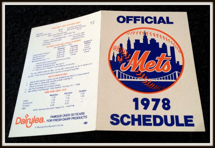 1978 NEW YORK METS DAIRYLEA BASEBALL POCKET SCHEDULE EX+NM CONDITION FREE SHIP #Pocket #Schedule