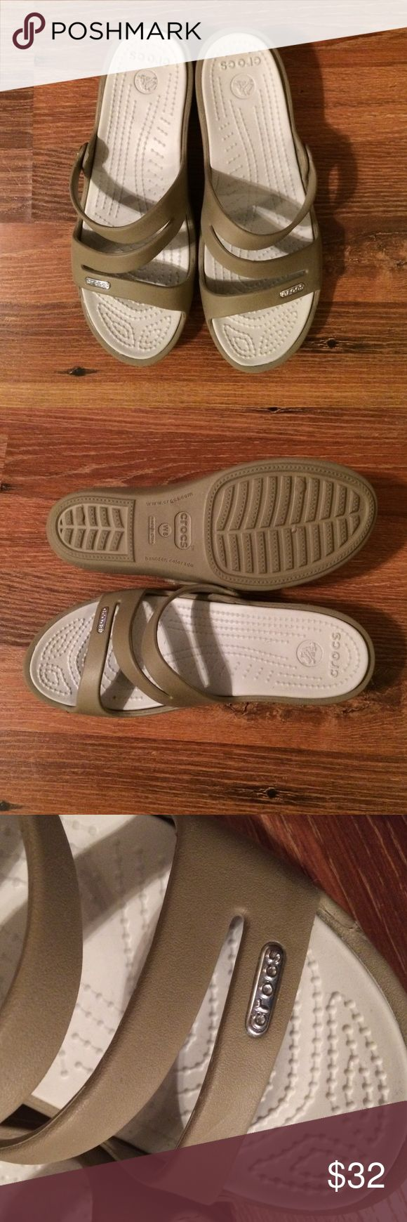 Crocs Sandals These are brand new never worn Crocs mini wedge sandals in a tan color Size 8 CROCS Shoes Sandals