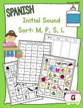 FREE! Spanish Beginning Sound Recognition: Initial Sound Word Sort with letters M, P, S, and L!