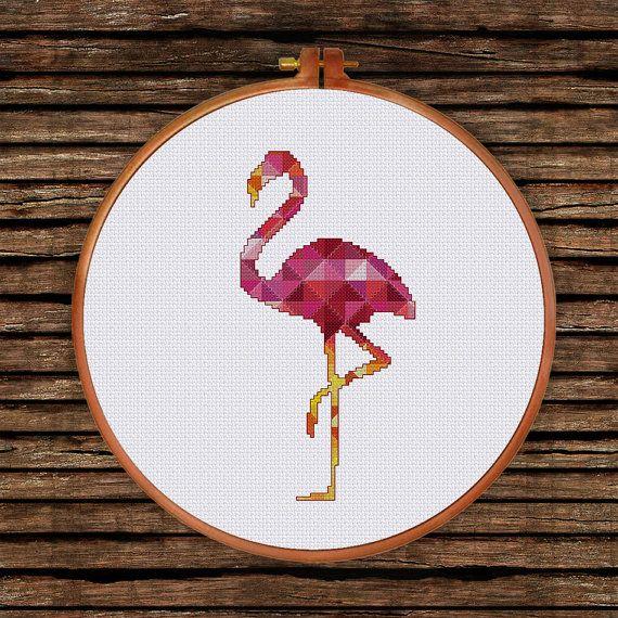 Geometric Flamingo cross stitch pattern Modern pink by ThuHaDesign