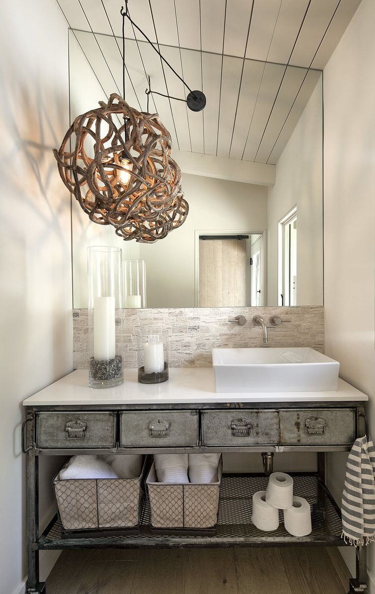Rustic bathroom designs the key is to be bold original and - An Organic Seaweed Root Ball Was Reimagined As An Organic Pendant Light And Smooth Quartz Complements The Rustic Steel For The Perfect