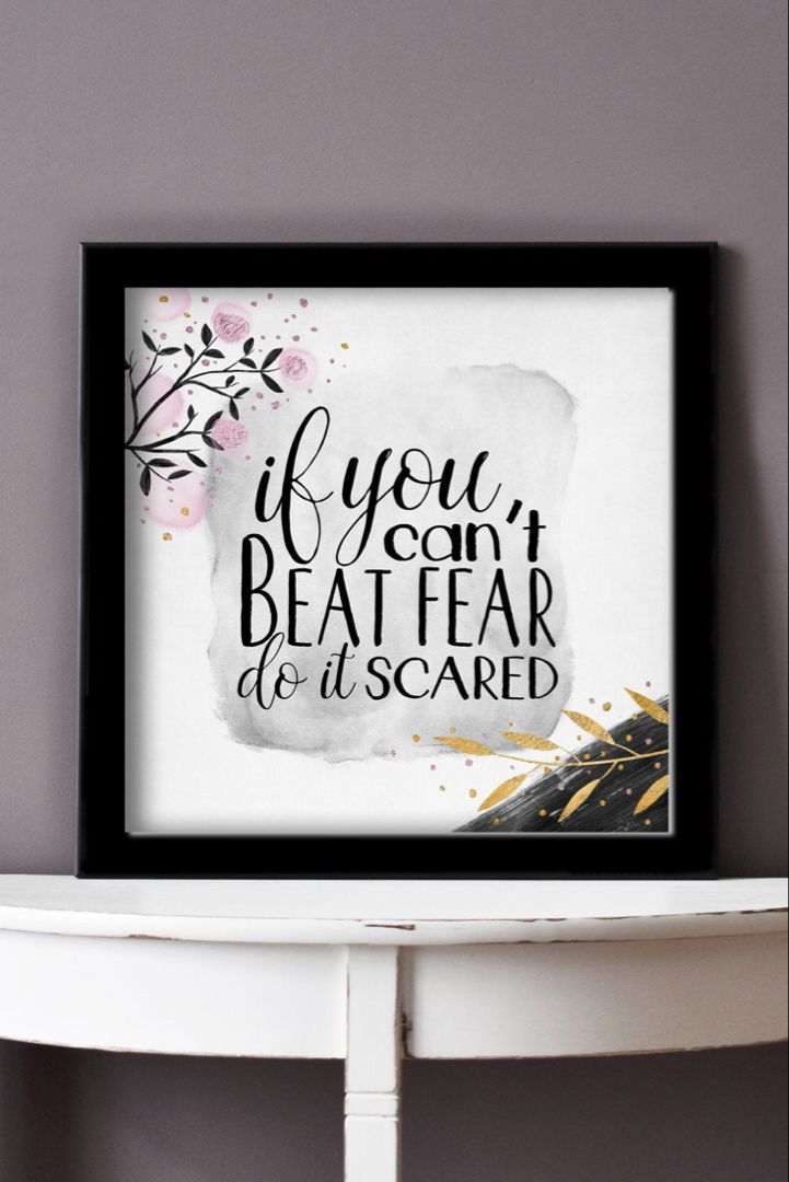 Do It Scared Printable Motivational Quote Shabby Chic Apartment Decor Home Office Wall Art Affordable Wall Decor In 2020 Girl Boss Office Decor Inspirational Printables Printable Art Quotes