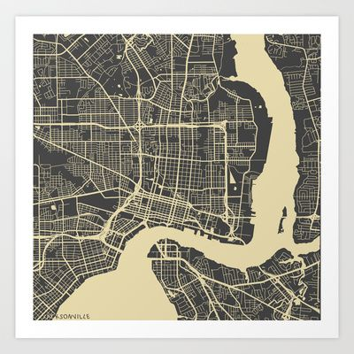 Jacksonville map Art Print by Map Map Maps - $18.00 ----------------------------If you like my work, you can folllow my Facebook accournt : https://www.facebook.com/MapMapMaps?ref_type=bookmark