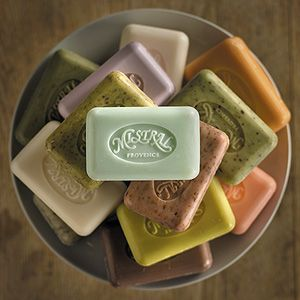 Mistral soap. I've never actually tried it, but whenever I see it in the shops, I'm sure I'd love it... and I know I'd love a huge platter of pretty soap of any kind.