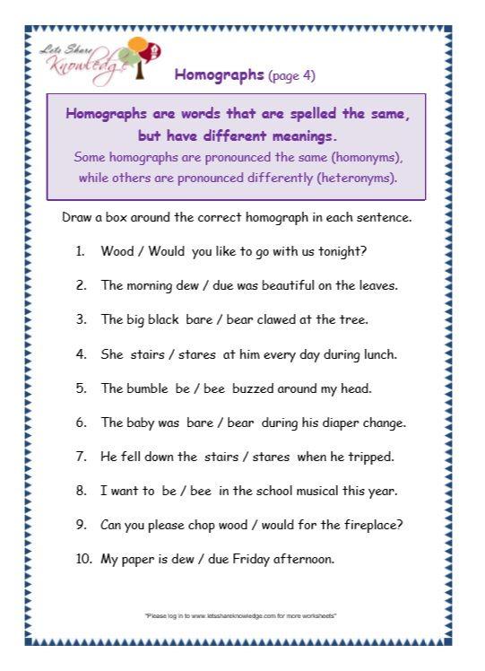 Grade 3 Grammar Topic 25: Homographs Worksheets - Lets Share ...