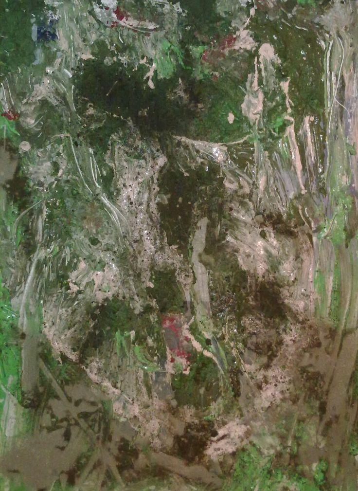 "Daniel Thalheim, ""Geological Landscape II"", Acryl & Dust on Hardboard, 2013/11/23 (Privatbesitz)"