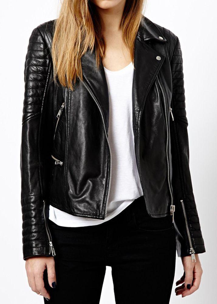 Women Leather Jacket Original Lambskin Coat Motorcycle New Gift All Size