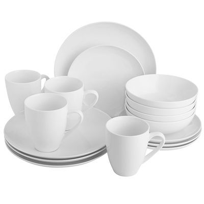 Simply brilliant. Refined enough for formal dinners, yet totally at home in casual gatherings. This porcelain dinnerware is sleek and chic. This set of four place settings includes four dinner plates, four salad plates, four bowls, and four mugs.