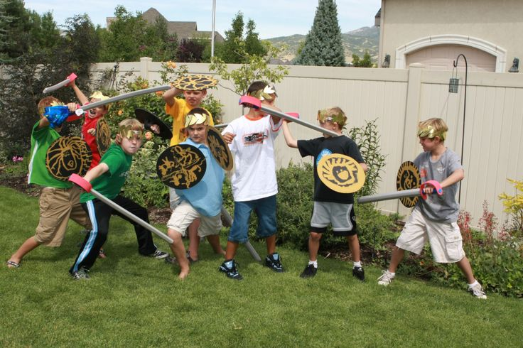 Swords and shields for each child for Camp Halfbood training at a Percy Jackson themed party.