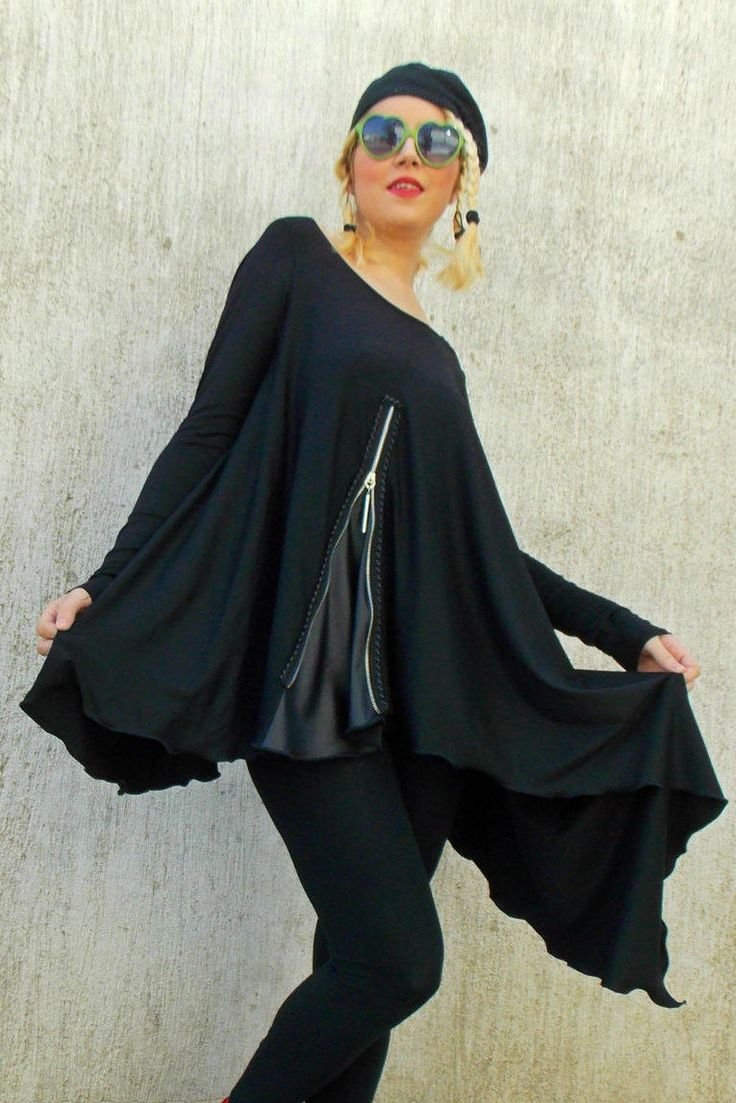New in our shop! Black Asymmetric Tunic / Black Tunic / Loose Tunic with Leather Inset TT44 https://www.etsy.com/listing/225415440/black-asymmetric-tunic-black-tunic-loose?utm_campaign=crowdfire&utm_content=crowdfire&utm_medium=social&utm_source=pinterest