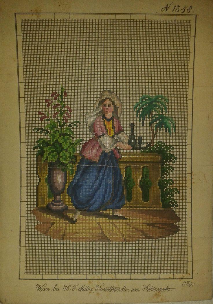 A Berlin WoolWork Figural Pattern Produced By H.F.Müller ~ eBay.de