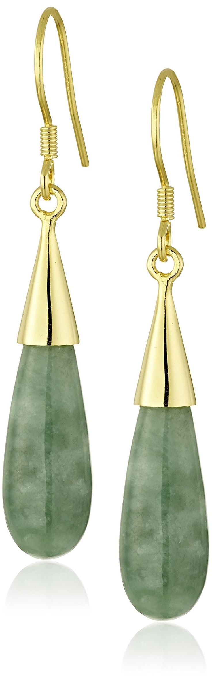 18k Yellow Gold Plated Sterling Silver Jade Tear Drop Earrings: