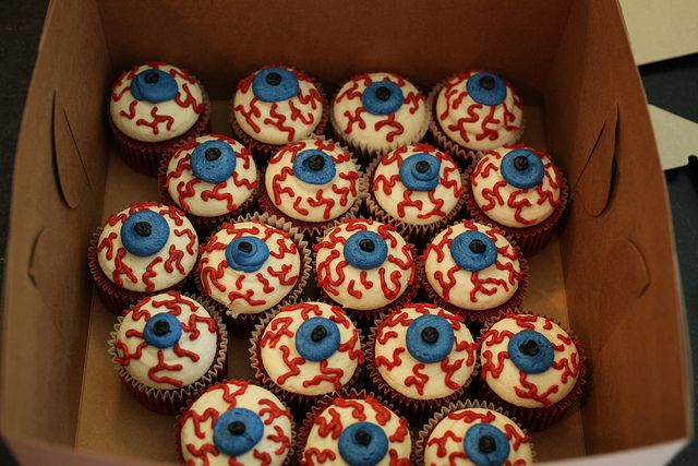 Eyeball cupcakes...They are made with bloody red velvet cake and a foolproof vanilla buttercream frosting