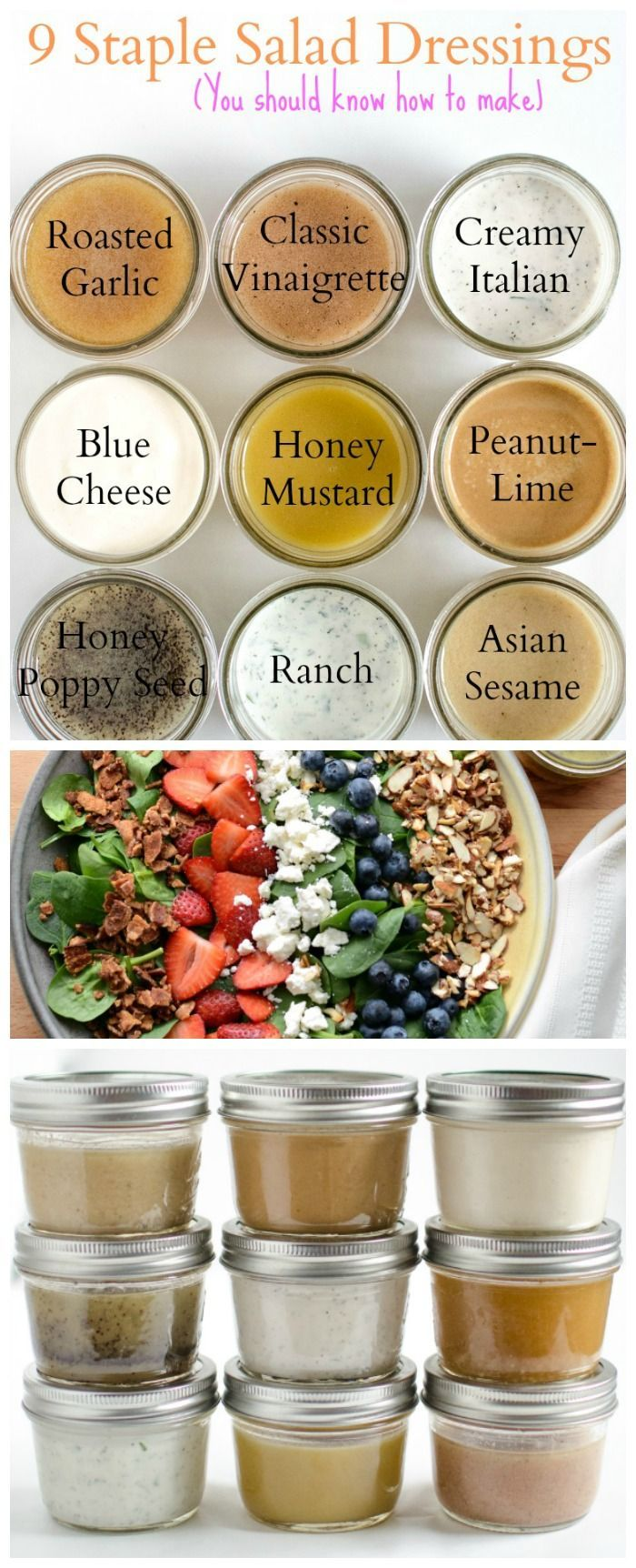 9 staple salad dressings #DIY #veggielove
