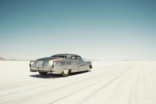 Photographer Simon Davidson captures light and texture beautifully. We love this shot from his Bonneville Salt Flats series. The mix of salt and metal and blue sky is inspiring.