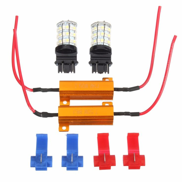 Pair 3157 Dual Color Switchback 60LED Car Turn Signal Light Lamp Bulbs with Resistors