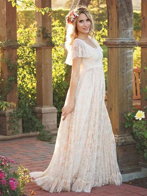 5dd68bf6c Lace Long Dress White Women Short Sleeve Ruffle Boho Maxi Dress in ...