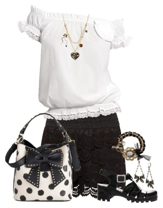 """Flirty Black Crochet Shorts Outfit"" by helenehrenhofer ❤ liked on Polyvore"